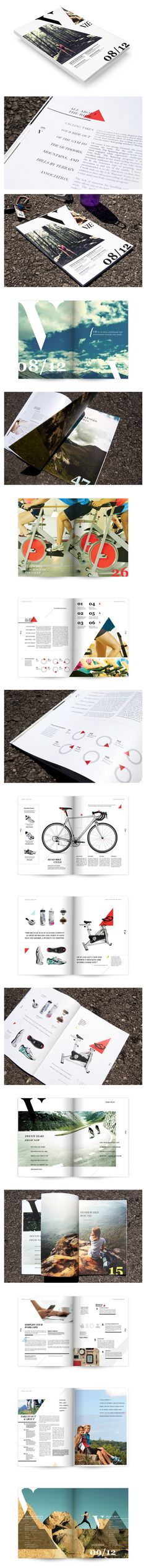 Vie Magazine triangle editorial layout design based on the bike shape