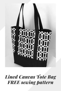 Lined Canvas Tote Bag sewing pattern. Here's a fabulous free pattern of how to make this sturdy and hard-wearing lined canvas tote bag. Diy Bags Patterns, Handbag Patterns, Sewing Patterns Free, Bag Pattern Free, Tote Pattern, Diy Bags Purses, Diy Tote Bag, Quilted Bag, Patchwork Bags