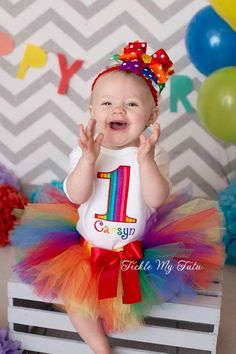 Rainbow Stripes Birthday Number Tutu Outfit...girls rainbow birthday tutu outfit...first birthday rainbow outfit...www.ticklemytutu.com