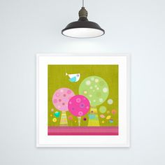 "Kids Art Print, Kids Decor, Children Wall Art, ""Petit Oiseau sur Arbres colorés"" by Lespetitsbuttons"