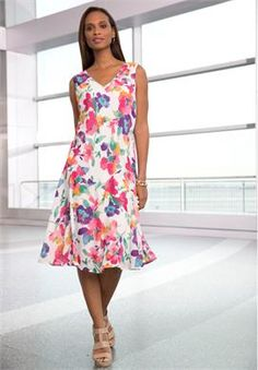 Plus Size Floral Print Dress - This floral dress with a ruffled hem is the perfect summer dress for all your outdoor events, whether a beach wedding or a garden party. Pair it with pumps to complete your look. A light shrug will come handy if its a beach event.