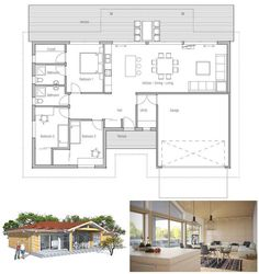 Modern House Plan with vaulted ceiling in living & dining area, covered terrace, full wall height windows, three bedrooms. Floor Plan.