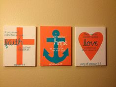 Anchor painting in another color maybe? Cross Anchor Heart Trio by TealedA