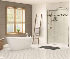 MAAX® Sax W x D Freestanding Bathtub with Reversible Drain Shower Wall Kits, Whirlpool Tub, Dream Bathrooms, New Bathroom Ideas, Free Standing Bath Tub, Maax, Soaking Bathtubs, Bathtub Design, Bathtub
