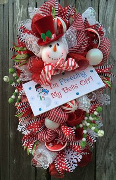 Snowman Wreath Snowman Door Snowman Decor Snowman by BaBamWreaths Christmas Mesh Wreaths, Christmas Door Decorations, Christmas Swags, Snowman Decorations, Christmas Time, Winter Wreaths, Rustic Christmas, Christmas Ideas, Primitive Christmas
