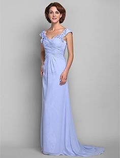 Sheath/Column Straps Chiffon Mother of the Bride Dress (618843) - USD $ 179.99