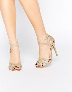 Image 1 of True Decadence Gold Glitter Ankle Strap Heeled Sandals