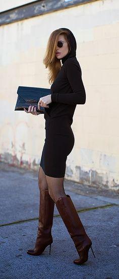 Love The Black Hoodie Dress # Leather High Heels