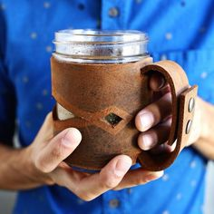 Learn how to make a leather mason jar sleeve. They make great gifts for the holidays!