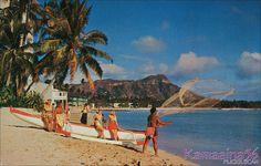 Waikiki Beach c1952 by Kamaaina56, via Flickr