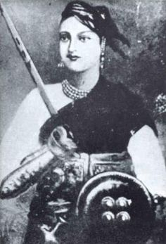 Rani Lakshmi Bai (1835–1858) was one of the leading figures of the Indian Rebellion of 1857 against the British.  She was the queen of the Peshwa-ruled state of Jhansi in northern India.  She died during the battle of Gwalior, in which she donned warrior's clothes and rode into battle to save the fort.