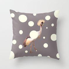 Safari Bird - Crown bird with dots on a cushion cover / throw pillow