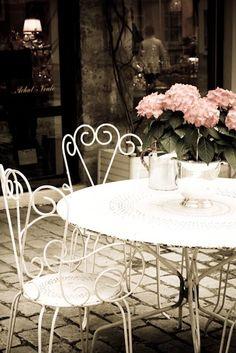 Paris Photography, Table in Parisian Courtyard, Spring in Paris, Romantic Paris Art, Paris Home Deco Paris Home Decor, Parisian Decor, Parisian Cafe, Romantic Paris, Romantic Table, French Cafe, French Style, Cafe Tables, Picnic Tables