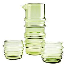 I wish to have a whole set of Marimekko Sukat Makkaralla Glassware one day. Kitchenware, Tableware, Pistachio Green, Glass Pitchers, Scandinavian Home, Marimekko, Burning Candle, Crate And Barrel, Crates