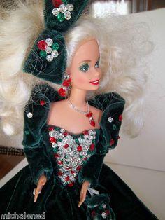 Vintage 1991 Happy Holiday Barbie Green Velvet Dress Matching Purse Bow | eBay