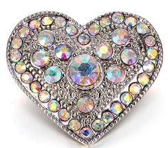 White Opal Rhinestone Heart 20mm Snap Charm Interchangeable For Ginger Snaps #Handmade #Interchangeable