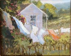 Summer Wind by Janette Jones Oil ~ 8 x 10 Laundry Art, Laundry Drying, Clothes Lines, Monday Monday, Internet Art, Fairytale Cottage, Van Gogh Paintings, Lost Art, Love Painting