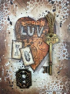 Luv & Kisses  by Chris Haughey  A rust effect without all the mess of actual rust!  This technique is great to add a rustic touch to any home decor!  The mixed media Valentine blends perfectly with the frame.  Added elements for dimension create interest.  A little bit of paint will coordinate lost and found household items with amazing results! http://pixelatedpalette.net/issue/january-2016/article/luv-kisses-by-chris-haughey