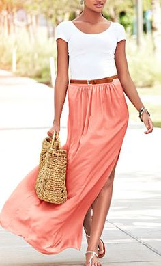 flowing #coral maxi skirt http://rstyle.me/n/ibaxhr9te