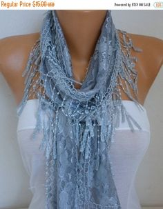 ON SALE Silver Gray Lace Scarf Summer Shawl Scarf by fatwoman