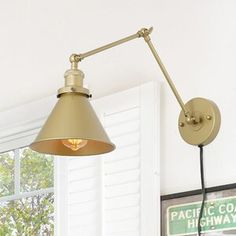 Shop for Delacy Brass Wall Lamp Adjustable Plug-in Wall Sconces Lighting - Get free delivery On EVERYTHING* Overstock - Your Online Wall Lighting Store! Swing Arm Wall Sconce, Plug In Wall Sconce, Wall Sconce Lighting, Home Lighting, Task Lighting, Bedroom Lighting, Brass Wall Lights, Kitchen Lighting, Wall Light Fixtures