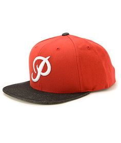 A bright red crown is accented by a speckled black bill for two tone style with a white classic P script embroidered at the front.