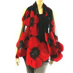 Filzschals - Gefilzte Schal Nuno filz Schal Mohn Blumen - ein Designerstück von Laura-Major bei DaWanda