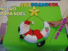 Resultado de imagen para molde papa noel acostado Christmas Holidays, Christmas Ornaments, Holiday Decor, Crochet, Videos, Cards, Papa Noel, Holiday Ornaments, Bricolage