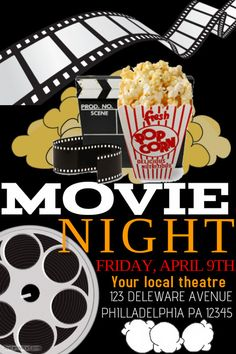 Awesome Movie Night Template Flyer Free Images  Stuff To Buy