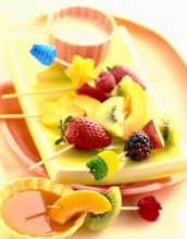 A fruity way to end a meal. Fruit kabobs and dip. Gluten free