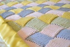 Knit Entrelac Baby Blanket Close Up