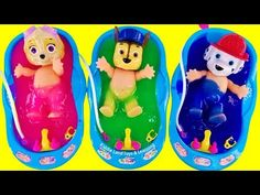 Learn Colors Paw Patrol Babies in the Slime Bath Playdoh Ice Cream Shop and Candy Vending Machine - YouTube