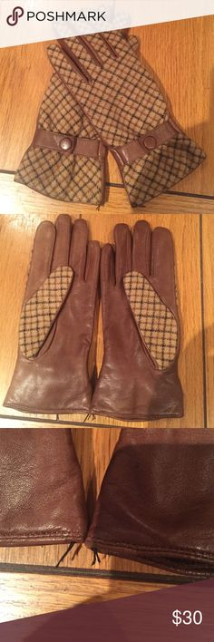 Perfectly trendy gloves! Cashmere cotton interior (so soft!) and wool leather exterior. On trend plaid . Very lightly used with no signs of wear. See third pic for where tags were cut off, easily fixed or tucked in threading. Best for a petite hand or for someone with slender hands. Snap button functional! J. McLaughlin Accessories Gloves & Mittens