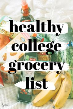 Grocery List Eat healthy in college with this healthy college grocery list. From veggies to snacks, this guide has everything you need to create the best college grocery list no matter your college budget! College Dorm Food, College Grocery List, Healthy College Meals, College Cooking, College Fun, College Tips, Best College Food, College Food Recipes, Healthy College Snacks