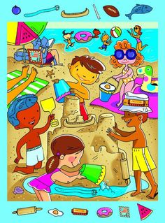 Highlights at the Beach Double-Sided Puzzle, 100 Pieces English Activities, Preschool Learning Activities, Motor Activities, Hidden Picture Puzzles, Picture Composition, Picture Writing Prompts, Hidden Pictures, Hidden Pics, Hidden Objects