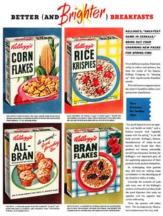 Kellogg's breakfast cereal advertisement, April 1953. #vintage #1950s #food #ads