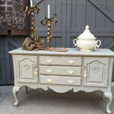 Queen Anne Buffet/Dresser, Upcycled, New Paint & Hardware from Julies Box for $325.00