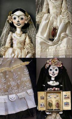 Day of the Dead, Calavera Catrina Art Dolls~Image © Christine Alvarado, Image Mix, Chiffon Wedding Gowns, Frida Art, Photo Coasters, Floral Headpiece, How To Make Ribbon, Doll Maker, Green Silk, Day Of The Dead
