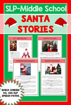 Your middle school students will love the these high interest stories focusing on Santa!  Santa Stories contains four units:1.  Saint Nicholas2.  Santa Claus3.  Operation Santa4.  Santa SchoolEach unit contains five research-based activity sheets to develop higher-level thinking skills including: Vocabulary & SemanticsComprehension & InferencesMain Ideas & DetailsClassifying & AssociationsCompare/Contrast & SyntaxYour students might also enjoy:Christmas In Video: A Social...