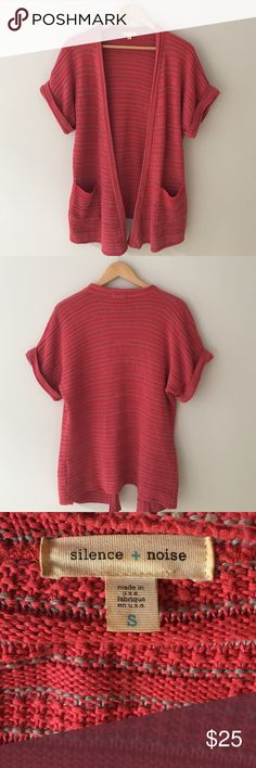 UO Silence + Noise Cardigan Red & Gray woven short sleeve cardigan sweater with 3 front pockets. Perfect for a cozy casual look! Size small. Good condition! Urban Outfitters Sweaters Cardigans