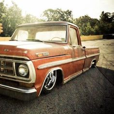 Slammed Ford with that old patina Bagged Trucks, Lowered Trucks, Old Ford Trucks, Mini Trucks, Cool Trucks, Custom Trucks, Custom Cars, Classic Pickup Trucks, Shop Truck