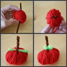 DIY Yarn Crafts: DIY Fall Decor : DIY Little Apple Yarn Favors