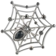 Anne Klein Two-Tone Spider & Web Stone Embellished Pin, Created for... ($28) ❤ liked on Polyvore featuring jewelry, brooches, silver, two tone jewelry, silvertone jewelry, pin brooch, stone jewelry and pin jewelry