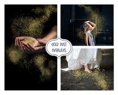 Gold Dust Photo Overlays, Blowing Glitter Photoshop Overlays, Magic Shine, Confetti Photo layer, Fantasy Christmas, Sparkle Overlays, Gold