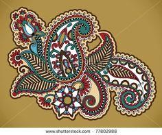 paisley tattoo | Henna Floral Tattoo Design, Ornamental Decorations Stock Vector ...