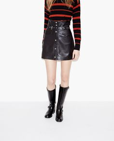 High-waisted leather skirt | The Kooples