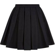Balmain Pleated Mini Skirt ($1,215) ❤ liked on Polyvore featuring skirts, mini skirts, bottoms, saias, faldas, short flared skirts, pleated mini skirt, black pleated skirt, mini skirt and black flare skirt