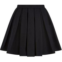 Balmain Pleated Mini Skirt ($1,220) ❤ liked on Polyvore featuring skirts, mini skirts, bottoms, saias, faldas, short flared skirts, short skirts, flare skirt, black miniskirt and short black skirt