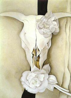 Georgia O'Keefe.  Skull of a cow and kolenkorovye roses