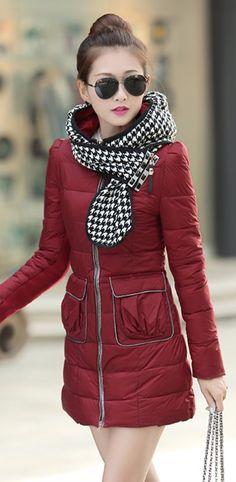 Elegant Coat, coat with Plaid Hood-Scarf, hood-scarf, YRB coats, korean coat, dark red korean coat, dark red down coat, light purple coat, black korean down coats, asian down coats, korean fashion, coats from korea UK elegant, plaid, yrb0392, women zip, £46.00 #downcoat